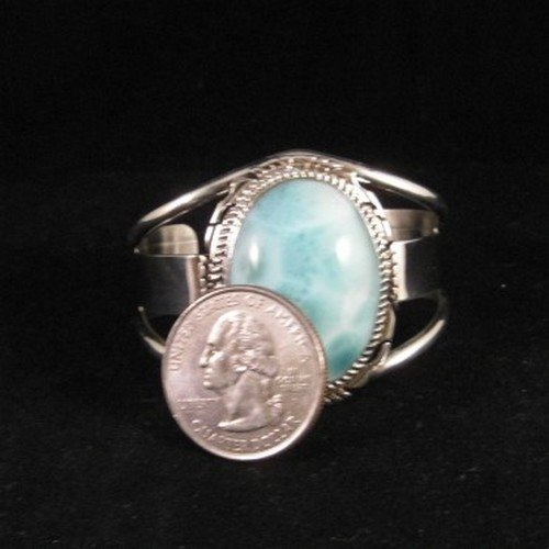 Image 3 of Extra-Small Navajo Indian Larimar Sterling Silver Bracelet, Elouise Kee