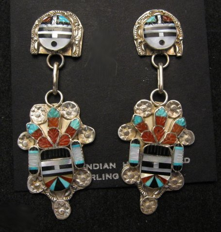 Image 0 of Eldred Martinez ~ Zuni ~ Inlaid Sunface Kachina Silver Earrings