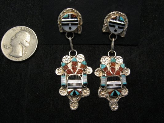 Image 1 of Eldred Martinez ~ Zuni ~ Inlaid Sunface Kachina Silver Earrings