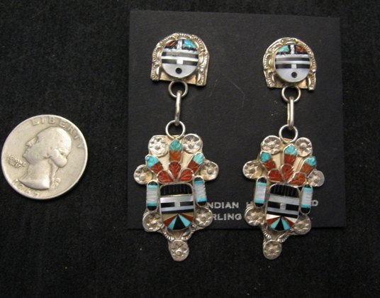 Image 2 of Eldred Martinez ~ Zuni ~ Inlaid Sunface Kachina Silver Earrings