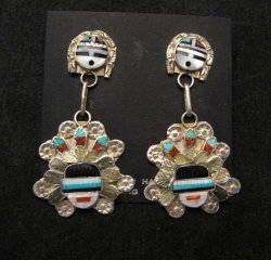 Zuni Inlaid Sunface Headress Silver Earrings, Eldred Martinez