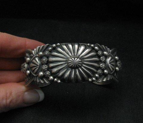 Image 3 of Large Navajo Virgil Begay Repousse Stamped Sterling Silver Bracelet