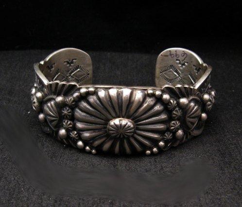 Image 0 of Large Navajo Virgil Begay Repousse Stamped Sterling Silver Bracelet