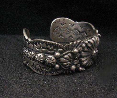 Image 1 of Large Navajo Virgil Begay Repousse Stamped Sterling Silver Bracelet