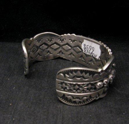 Image 2 of Large Navajo Virgil Begay Repousse Stamped Sterling Silver Bracelet