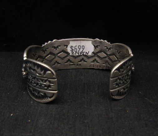 Image 4 of Large Navajo Virgil Begay Repousse Stamped Sterling Silver Bracelet