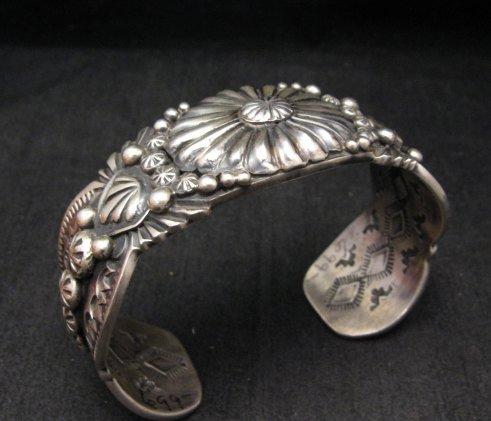 Image 5 of Large Navajo Virgil Begay Repousse Stamped Sterling Silver Bracelet