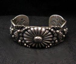 Large Navajo Virgil Begay Repousse Stamped Sterling Silver Bracelet