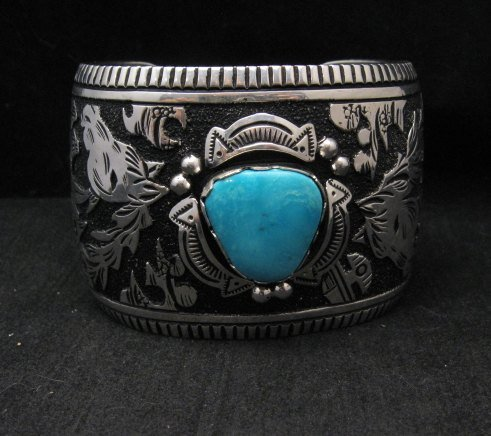 Image 0 of LARGE Richard Singer Navajo Horse Storyteller Sterling Silver Bracelet