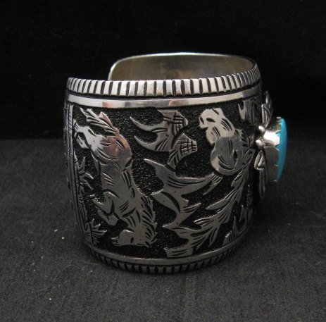 Image 1 of LARGE Richard Singer Navajo Horse Storyteller Sterling Silver Bracelet