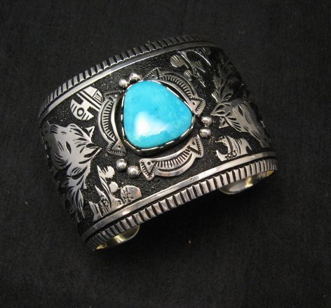 Image 4 of LARGE Richard Singer Navajo Horse Storyteller Sterling Silver Bracelet
