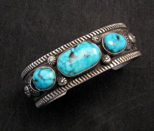 Image 0 of Navajo Native American Morenci Turquoise Sterling Silver Bracelet, Virgil Begay