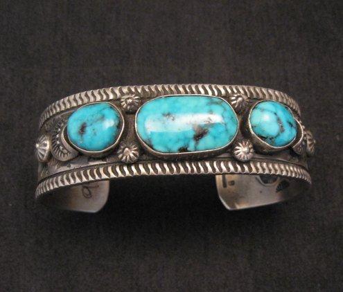 Image 1 of Navajo Native American Morenci Turquoise Sterling Silver Bracelet, Virgil Begay