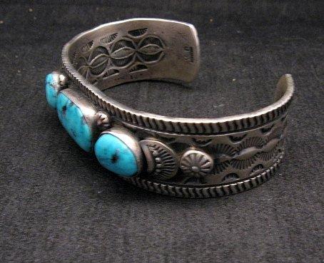 Image 2 of Navajo Native American Morenci Turquoise Sterling Silver Bracelet, Virgil Begay