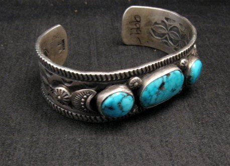 Image 3 of Navajo Native American Morenci Turquoise Sterling Silver Bracelet, Virgil Begay
