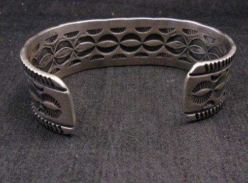 Image 4 of Navajo Native American Morenci Turquoise Sterling Silver Bracelet, Virgil Begay