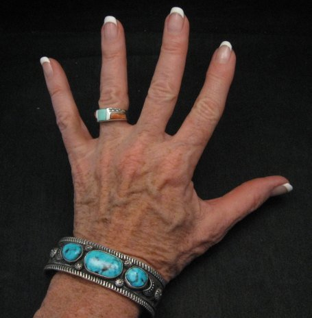 Image 5 of Navajo Native American Morenci Turquoise Sterling Silver Bracelet, Virgil Begay