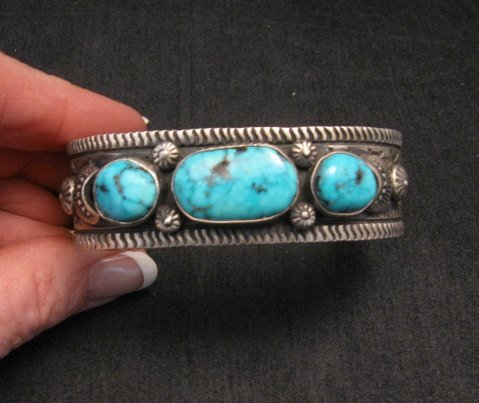 Image 6 of Navajo Native American Morenci Turquoise Sterling Silver Bracelet, Virgil Begay