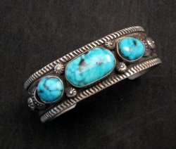 Navajo Native American Morenci Turquoise Sterling Silver Bracelet, Virgil Begay