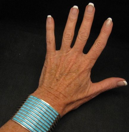 Image 0 of Zuni 10-row Sleeping Beauty Turquoise Bracelet, Anson & Letitia Wallace