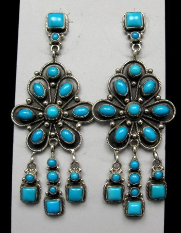 9e0eba3dc Image 0 of A+++ Navajo ~ Eleanor Largo ~ Turquoise Silver Dangle Earrings