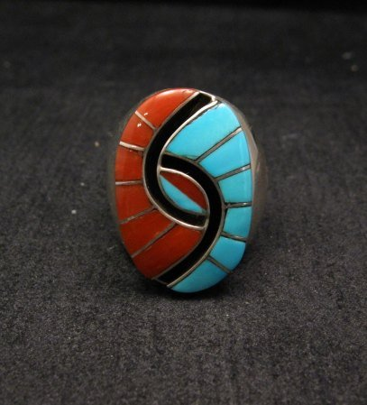 Image 0 of Amy Quandelacy Zuni Turquoise & Coral Hummingbird Ring Sz11