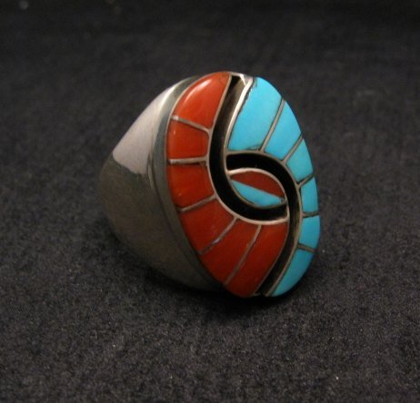 Image 1 of Amy Quandelacy Zuni Turquoise & Coral Hummingbird Ring Sz11