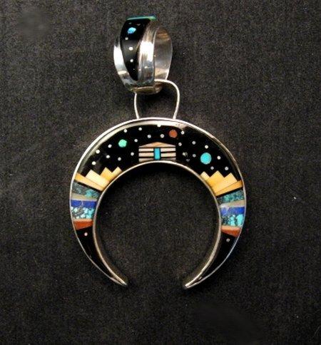 Image 0 of Reversible Navajo Inlay Hogan Night Sky Naja Pendant, Merle House