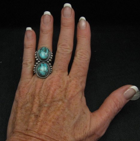 Image 2 of Gloria Begay ~ Navajo ~ Skyhorse Turquoise Sterling Silver Ring sz6-1/2