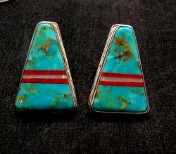 Turquoise Inlaid Santo Domingo Earrings, Daniel Coriz