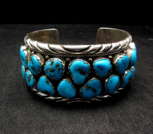 Image 0 of Large Native American Navajo Turquoise Silver Bracelet, Effie Spencer