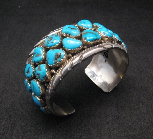 Image 1 of Large Native American Navajo Turquoise Silver Bracelet, Effie Spencer