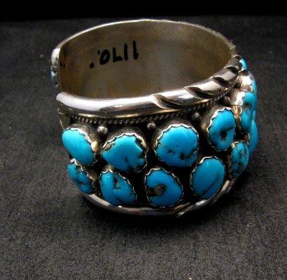 Image 2 of Large Native American Navajo Turquoise Silver Bracelet, Effie Spencer