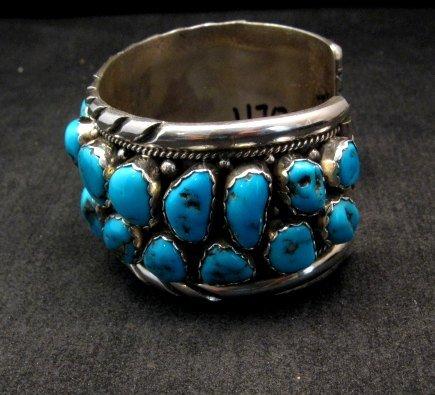 Image 3 of Large Native American Navajo Turquoise Silver Bracelet, Effie Spencer