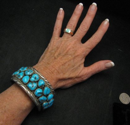Image 4 of Large Native American Navajo Turquoise Silver Bracelet, Effie Spencer
