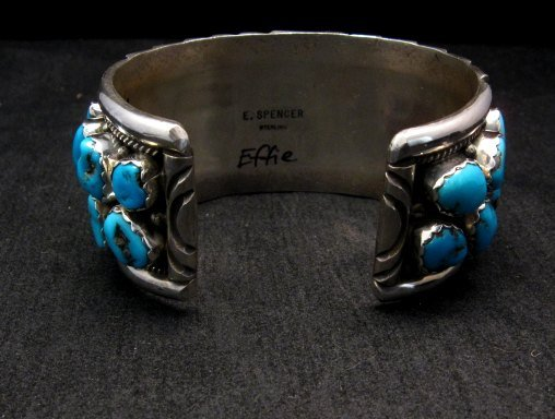 Image 5 of Large Native American Navajo Turquoise Silver Bracelet, Effie Spencer