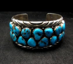 Large Native American Navajo Turquoise Silver Bracelet, Effie Spencer