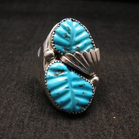 Image 0 of NATIVE AMERICAN ZUNI CARVED TURQUOISE SILVER RING, LOYOLITA OTHOLE, SZ12-1/2