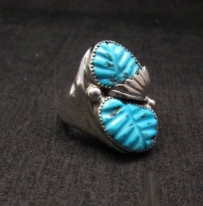 Image 1 of NATIVE AMERICAN ZUNI CARVED TURQUOISE SILVER RING, LOYOLITA OTHOLE, SZ12-1/2