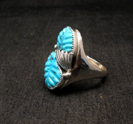 Image 2 of NATIVE AMERICAN ZUNI CARVED TURQUOISE SILVER RING, LOYOLITA OTHOLE, SZ12-1/2