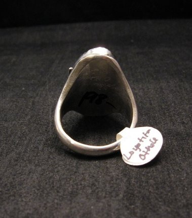 Image 3 of NATIVE AMERICAN ZUNI CARVED TURQUOISE SILVER RING, LOYOLITA OTHOLE, SZ12-1/2