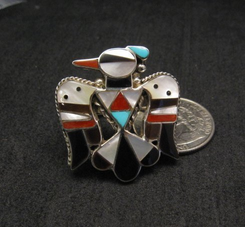 Image 1 of Zuni Multi Inlay Thunderbird Ring, Bobby Shack, sz8-1/2