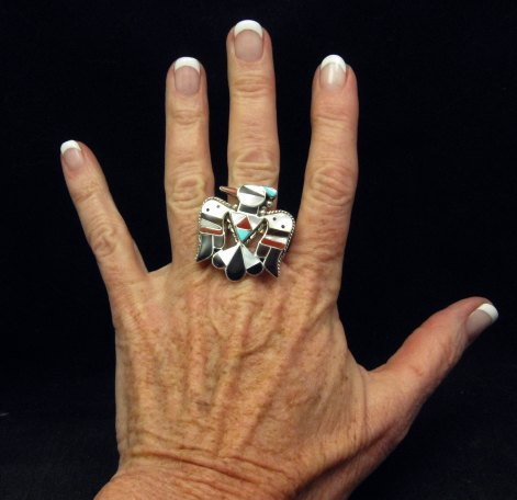Image 2 of Zuni Multi Inlay Thunderbird Ring, Bobby Shack, sz8-1/2
