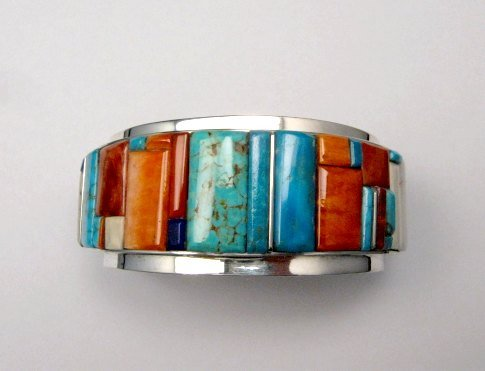 Image 6 of Big Harry Smith ~ Navajo ~ Cobblestone Inlay Bracelet