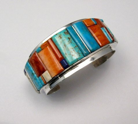 Image 0 of Big Harry Smith ~ Navajo ~ Cobblestone Inlay Bracelet