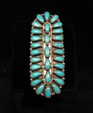 Image 3 of Native American Navajo Turquoise Sterling Silver Ring sz7-1/2, Zeta Begay