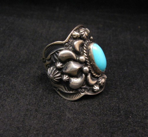 Image 1 of Darryl Becenti Navajo Turquoise Sterling Silver Ring sz7-1/2
