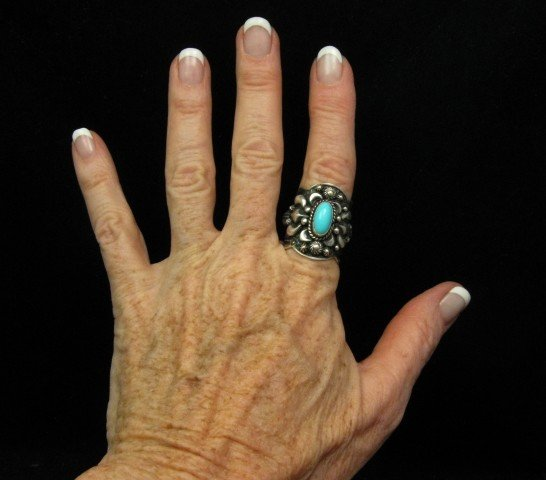 Image 2 of Darryl Becenti Navajo Turquoise Sterling Silver Ring sz7-1/2