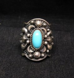 Darryl Becenti Navajo Turquoise Sterling Silver Ring sz7-1/2