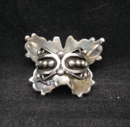 Image 2 of Native American Lorena Nez Silver Turquoise Butterfly Ring sz6